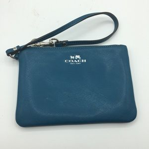 Coach Dark Blue Leather Wristlet